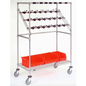 "Nexel® Chrome Catheter Procedure Cart, 5"" Swivel Casters (2 with Brakes), 24""L x 60""W x 68""H"