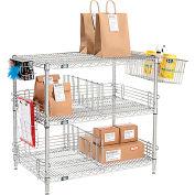 "Nexel® Chrome To Go Rack - 3 Wire Shelves, Dividers & Ledges - 72""W x 21""D x 34""H"