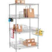 "Nexel® Chrome To Go Rack - 4 Wire Shelves, Dividers & Ledges - 36""W x 24""D x 63""H"
