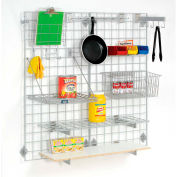 """Global Industrial™ Wire Grid Panel With Wall Mount Hook - Gray Epoxy - 96""""W x 24""""D"""