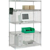 "Nexel® Chrome Wire Shelving Unit with Two Enclosures - 36""W x 24""D x 74""H"