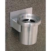 "Glaro 4-1/2"" Dia. x 6""H Ash Wall Mount Receptacle Grill Top, Silver Aluminum - 201-SA"