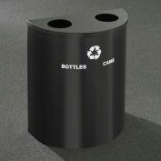 Glaro Recyclepro Half Round Satin Black, (2) 14-1/2 Gallons Bottles & Cans - BC2499BK-BK-B/C