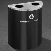 Glaro Recyclepro Half Round Satin Black/Satin Aluminum, (2) 14-1/2 Gal Btls & Cans - BC2499BK-SA-B/C