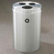 Glaro Recyclespro Triple Stream Satin Aluminum, 30 Gal, Bottles/Cans/Waste - BCW-2032SA-SA