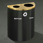 Glaro Recyclepro Half Round Hunter Green/Satin Brass, (2) 14-1/2 Gal Btls & Waste - BW2499HG-BE-B/W