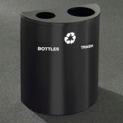 Glaro Recyclepro Half Round Hunter Green, (2) 14-1/2 Gallons Bottles & Waste - BW2499HG-HG-B/W