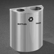 Glaro Recyclepro Half Round Satin Aluminum, (2) 14-1/2 Gallons Bottles & Waste - BW2499SA-SA-B/W