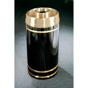 Glaro 16 Gallon Waste Receptacle w/Donut Top, Satin Black/Satin Brass Band - D1555-BK-BE