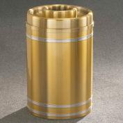 Glaro 33 Gallon Ash/Trash w/Donut Top, Satin Brass/Satin Aluminum Band - D2034BE