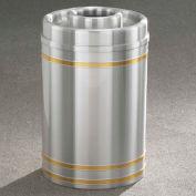 Glaro 33 Gallon Ash/Trash w/Donut Top, Satin Aluminum/Satin Brass Band - D2034SA