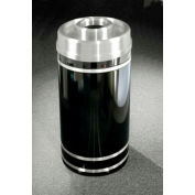 Glaro 33 Gallon Waste Receptacle w/Donut Top, Satin Black/Satin Aluminum Band - D2056-BK-SA