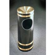 Glaro 3 Gallon Ash/Trash Receptacle w/Funnel Cover, Satin Black/Satin Brass Band - F1955-BK-BE