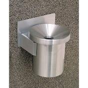 "Glaro 4-1/2"" Dia. x 6""H Ash Wall Mount Receptacle Funnel Top, Silver Aluminum - F203-SA"