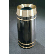 Glaro 33 Gallon Waste Receptacle w/Funnel Top Lid, Satin Black/Satin Brass Band - F2055-BK-BE