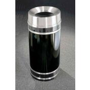 Glaro 33 Gallon Waste Receptacle w/Funnel Top Lid, Satin Black/Satin Aluminum Band - F2056-BK-SA
