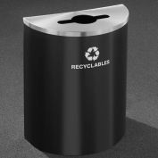Glaro Recyclepro Half Round Black/Satin Aluminum, 29 Gallon Mixed Recyclables - M2499BK-SA-R