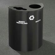 Glaro Recyclepro Half Round Satin Black, (2) 14-1/2 Gal Recycle & Waste - MW2499BK-BK
