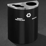 Glaro Recyclepro Half Round Satin Black/Satin Alum, (2) 14-1/2 Gal Recycle & Waste - MW2499BK-SA