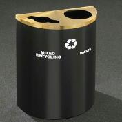 Glaro Recyclepro Half Round Burgundy/Satin Brass, (2) 14-1/2 Gal Recycle & Waste - MW2499BY-BE