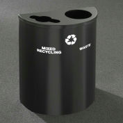 Glaro Recyclepro Half Round Burgundy, (2) 14-1/2 Gallons Recyclables & Waste - MW2499BY-BY