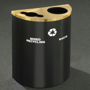 Glaro Recyclepro Half Round Hunter Green/Satin Brass, (2) 14-1/2 Gal Recycle & Waste-MW2499HG-BE