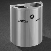 Glaro Recyclepro Half Round Satin Aluminum, (2) 14-1/2 Gal Recycle & Waste - MW2499SA-SA
