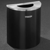 Glaro Recyclepro Half Round Burgundy/Satin Aluminum, 29 Gallon Trash - T2499BY-SA-T
