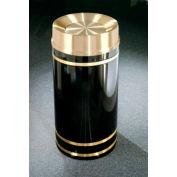 Glaro 33 Gallon Waste Receptacle w/Tip Action Lid, Satin Black/Satin Brass Band - TA2055-BK-BE