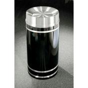 Glaro 33 Gallon Waste Receptacle w/Tip Action Lid, Satin Black/Satin Aluminum Band - TA2056-BK-SA