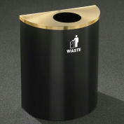 Glaro Recyclepro Half Round Satin Black/Satin Brass, 29 Gallon Waste - W2499BK-BE-W