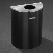 Glaro Recyclepro Half Round Midnight Blue/Satin Aluminum, 29 Gallon Waste - W2499BL-SA-W