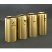 Glaro Value Recyclepro 4 Unit Satin Brass, (4) 23 Gallon Bottles/Paper/Waste/Cans - 1542-4-BE