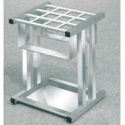 Grid Style Satin Aluminum Umbrella Stand for up to 12 Full & Tote Size Umbrellas