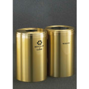 Glaro Recycling Container 2 Unit Satin Brass, (2) 41 Gal. Bottles/Cans/Waste