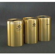 Glaro Value Recyclepro 3 Unit Satin Brass, (3) 41 Gallon Bottles/Cans/Paper/Waste - 2042-3-BE