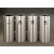 Glaro Value Recyclepro 4 Unit Satin Aluminum, (4) 41 Gallon Bottles/Paper/Waste/Cans - 2042-4-SA