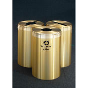 Glaro Value Recyclepro 3 Unit Satin Brass, (3) 41 Gallon Bottles/Cans/Paper/Waste - 2042-T-BE