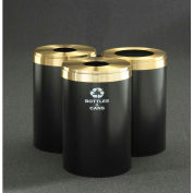 Glaro Value Recyclepro 3 Unit Gloss Brass, (3) 41 Gallon Bottles/Cans/Paper/Waste - 2042-T