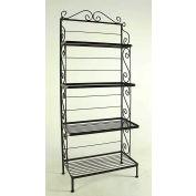 """Graduated Four Shelf Rack - With Brass Tips 24""""W (Aged Iron)"""