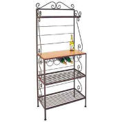 """Gourmet Rack W/Maple Shelf - With Brass Tips 30""""W (Champagne)"""