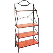 "Contemporary Style Bakers Rack With 4 Wood Shelves 36""W Cherry (Burnished Copper)"