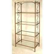 """Etagere - Four Glass Shelves With French Traditional Motif 38""""W (Satin Black)"""