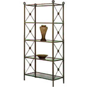 """Etagere - Four Glass Shelves With Neoclassic Motif 38""""W (Aged Iron)"""