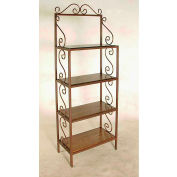 """Standard Bakers Rack With 4 Wood Shelves - With Brass Tips 24""""W - Cherry (Stone)"""
