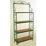 """Graduated Bakers Rack With 4 Wood Shelves - With Brass Tips 36""""W - Cherry (Satin Black)"""