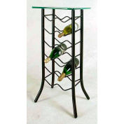 Wine Rack 12 Bottle - With Glass Top (Stone)