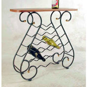 Wine Rack 16 Bottle - With Oak Top & Brass Tips (Aged Iron)