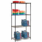 "Nexel Black Epoxy Wire Shelving, 30""W X 18""D X 63""H"