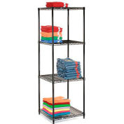 "Nexel Black Epoxy Wire Shelving, 24""W X 24""D X 63""H"